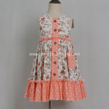 girls ruffle dress dots print floral design